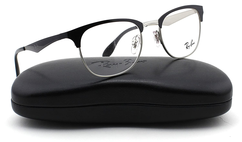 f3ed666254 Amazon.com  Ray-Ban RX6346 2861 Eyeglasses Metal Top Black on Silver Frame  52mm  Clothing