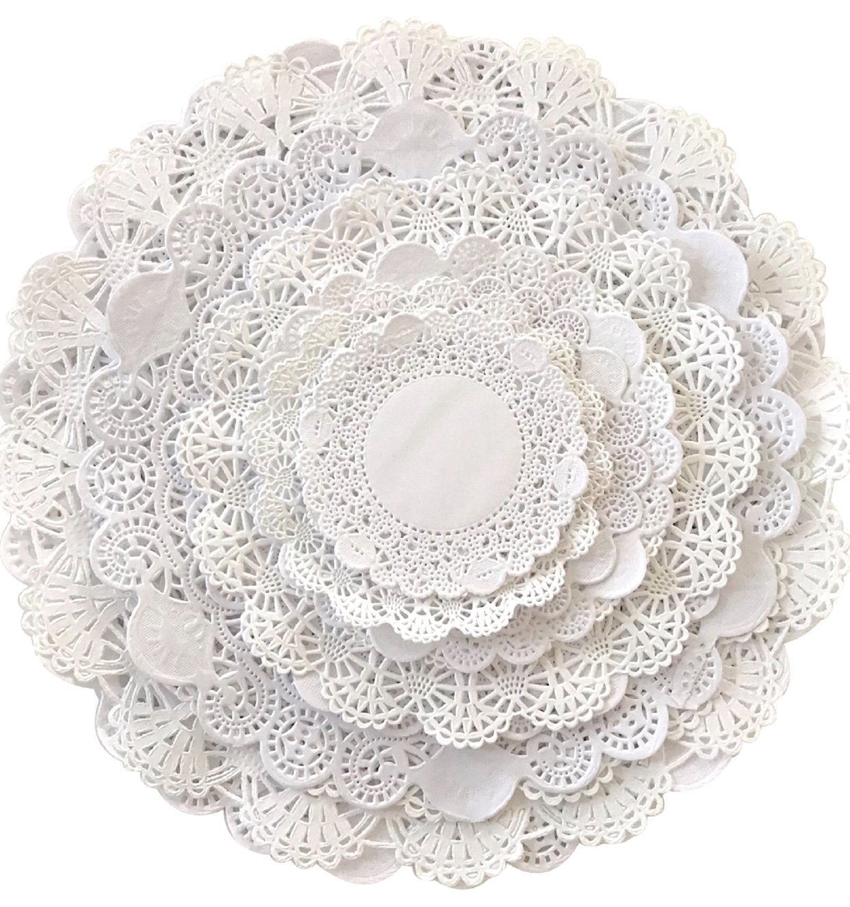 Variety Pack 120 Paper Lace Doilies 4'', 5'', 6'', 8'', 10'' and 12'' Cambridge & Royal Assorted Sizes