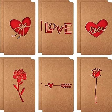 Tarjeta de amor 12 piezas, 6 diseños variados de Kraft ...