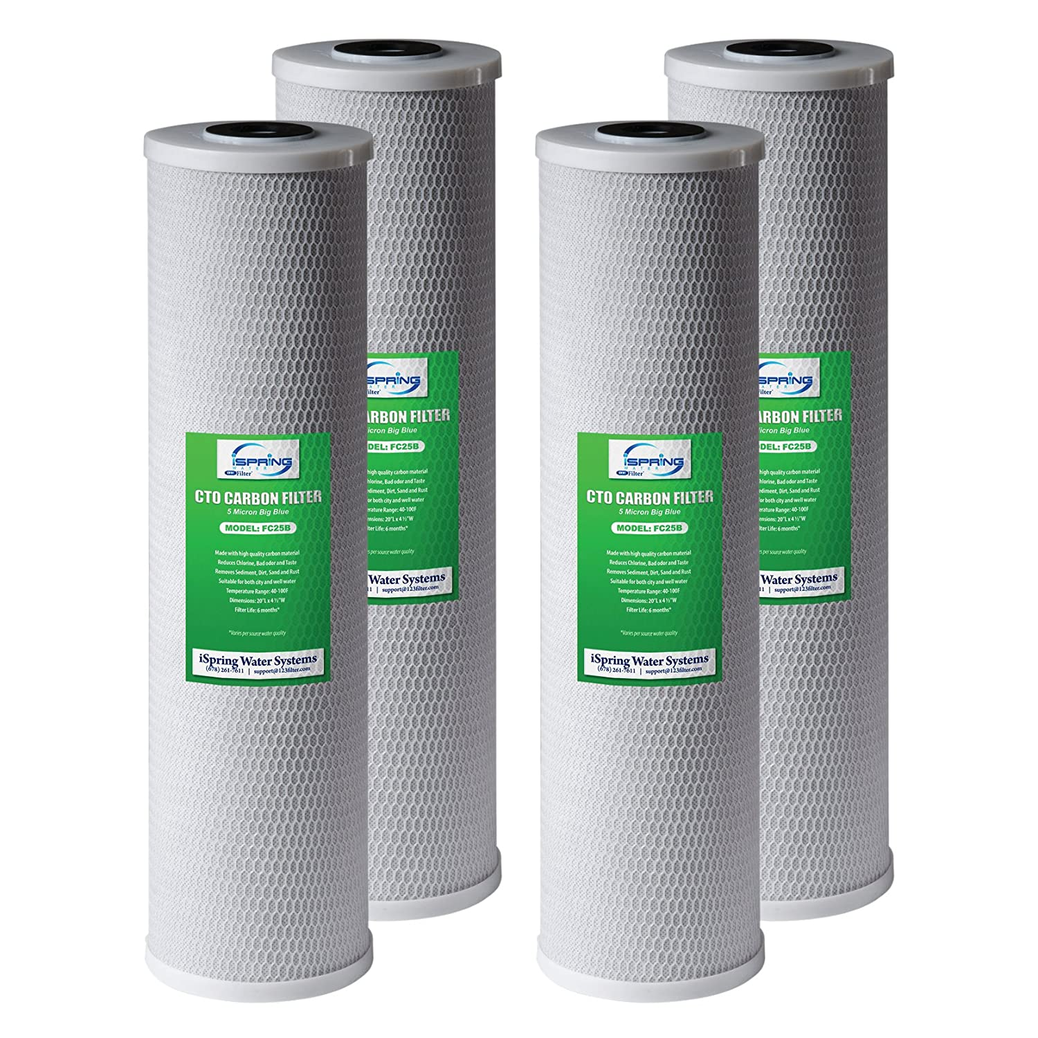 """iSpring FC25BX4 High Capacity 20"""" x 4.5"""" Water Filter Replacement Cartridges - CTO Carbon Block - Fits Standard 20"""" x 4.5"""" Whole House Water Filter Systems - Reducing up to 99% Chlorine - Pack of 4"""
