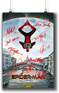 Pentagonwork Spider-Man Far from Home Casts Autographed Reprint Movie Poster 11.7x16.5 A3 Prints w/Stickers 2019 Film, Tom Holland Jake Gyllenhaal Signed, 541-203