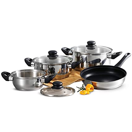 Tramontina Primaware 80117/585DS Stainless Steel Induction-Ready Tri-Ply Base 7Piece Cookware Set