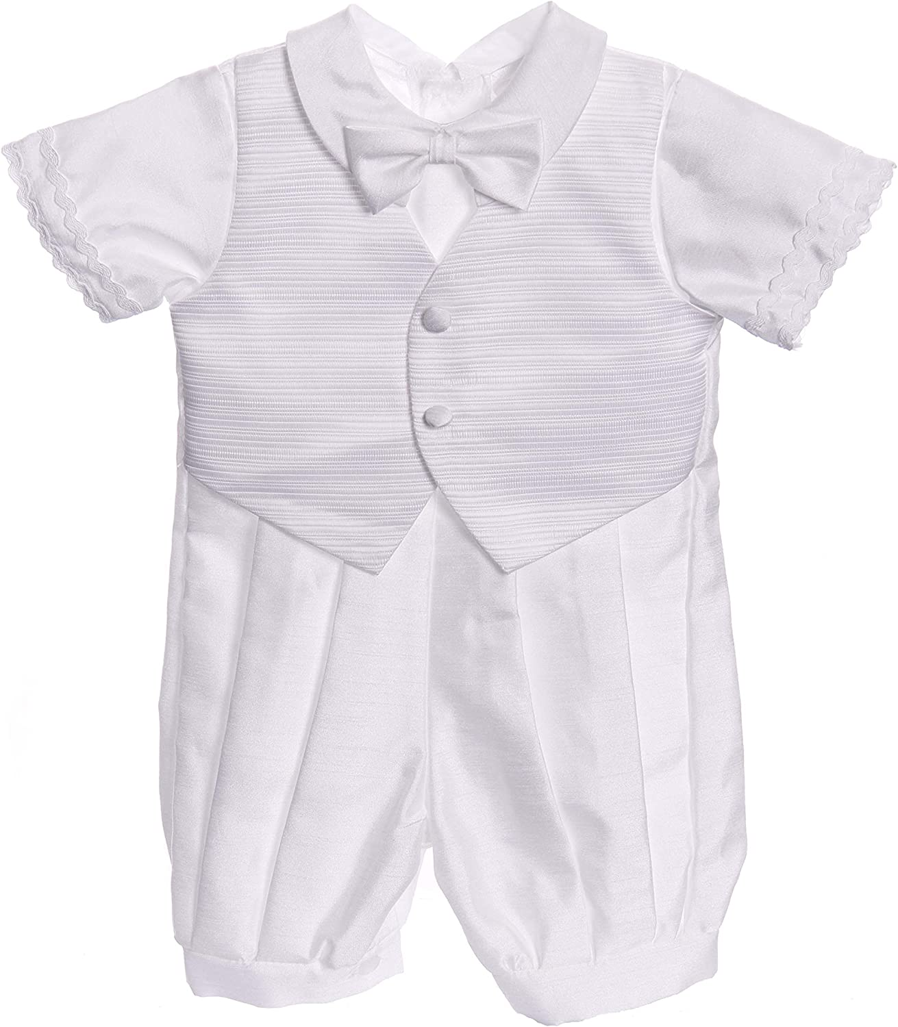 White Classic Christening 5pc Set Baby Boy Baptism Outfit 6-9M Small