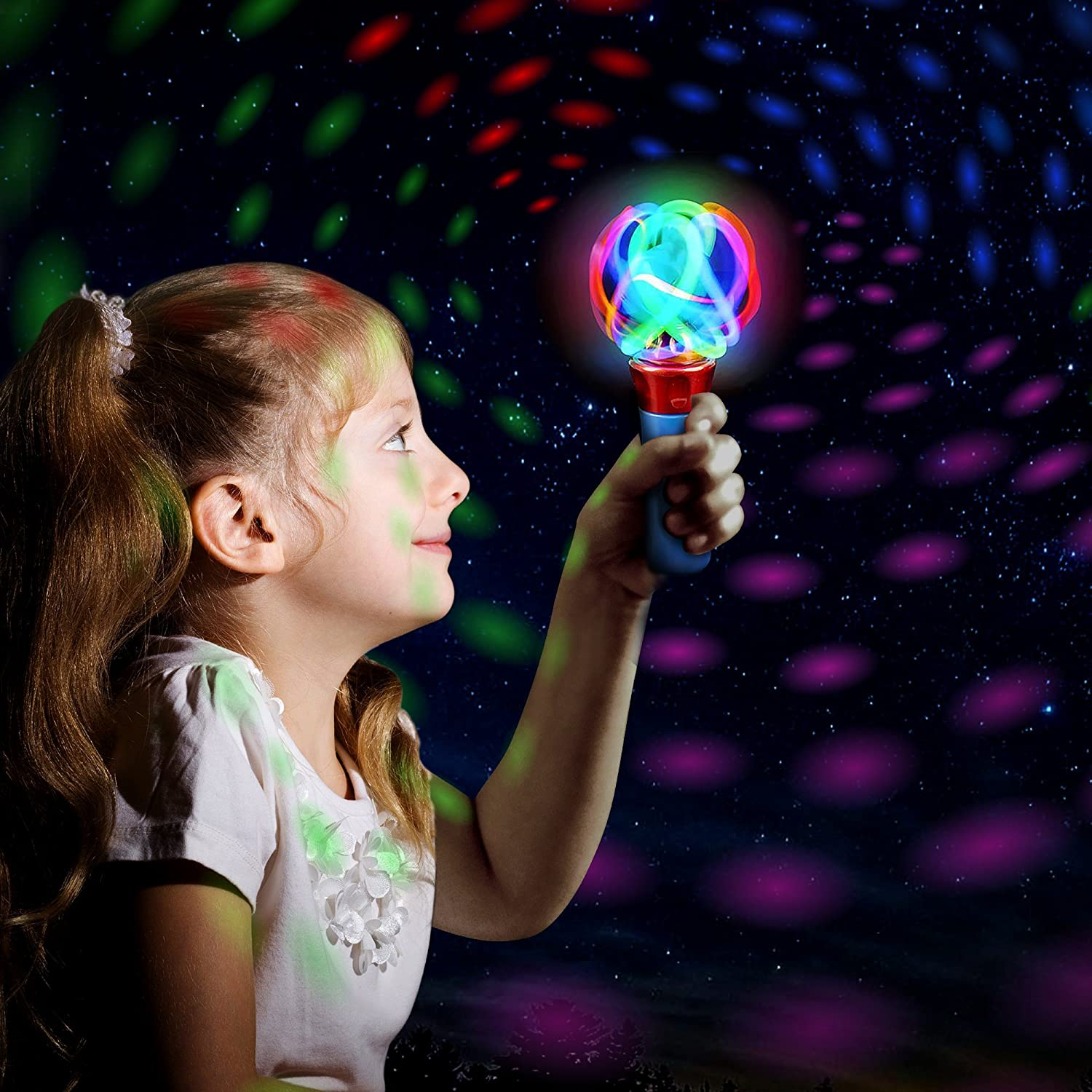 7/â/€� LED Electronic Spin Toy for Kids with Batteries Included Great Gift Idea for Boys Girls Toddlers ArtCreativity Light up Orbiter Spinning Wand Fun Birthday Party Favor// Carnival Prize