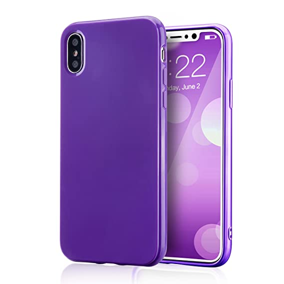 more photos 34150 7a0b0 for iPhone Xs Purple Case, technext020 Shockproof Ultra Slim Fit Silicone  iPhone 10 Cover TPU Soft Gel Rubber Cover Shock Resistance Protective Back  ...
