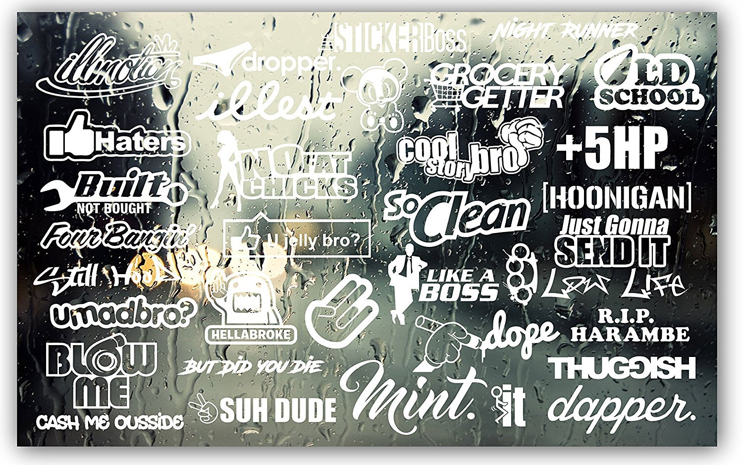 The Sticker Boss JDM Style car Gloss White Decal Pack - Huge 34 Pack- oracal 6 Year Vinyl