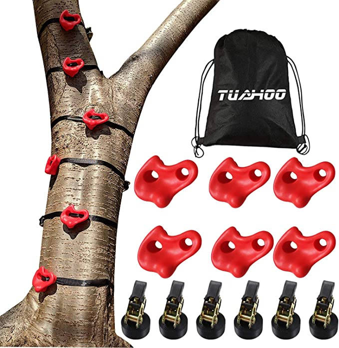 letsgood Ninja Tree Climbers Sturdy Climbing Rock Holds with Ratchets and Straps Climbing Monkey Ninja Warrior Obstacle Course Training Equipment for Kids Adults