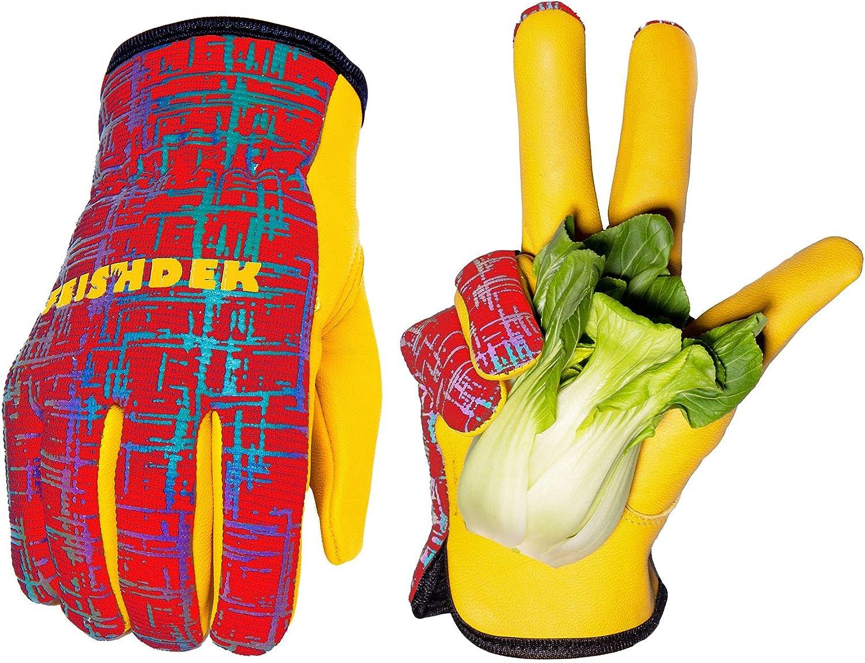 Kids Genuine Leather Work Gloves, Kids Gardening Work Gloves Safety Gloves, Reflective, Breathable Design, Perfect for Children Gardening, Yard Work, Outdoor (Small, Red, 3-5 Years Old)