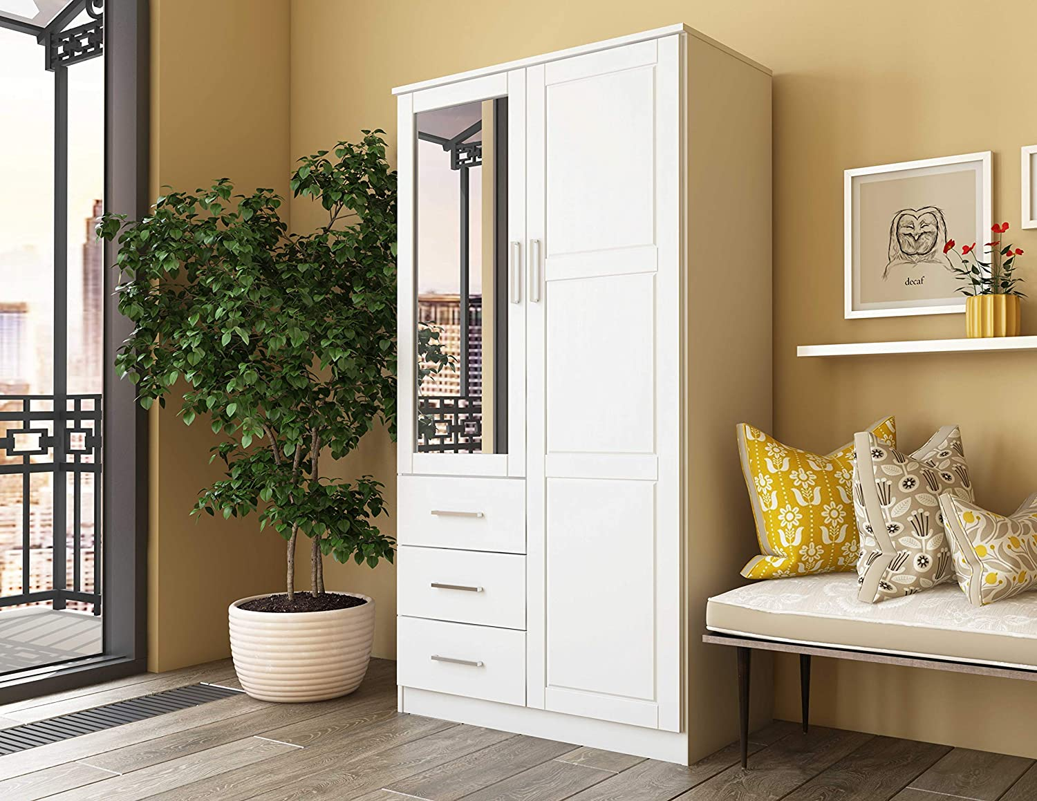 Metro Solid Pine Wood Wardrobe Armoire Closet with Mirror and 3 Drawers 7101 White by Palace Imports, 38 w x 21 d x 72 h. Optional Additional Shelves Sold Separately. Requires Assembly.