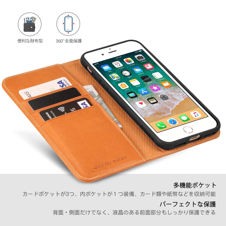 830641c90 Amazon | iPhone 8 Plus ケース SHIELDON iPhone 7 Plus ケース 手帳型 本革 【ソフトTPU 衝撃吸収】  全面保護 カード収納 スタンド機能 アイフォン8プラス ...