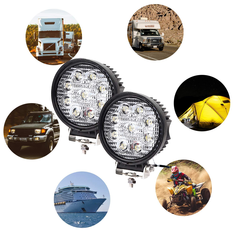 Traktor oder schweres Ger/ät Truck Hengda 2x 27w LED Arbeitsscheinwerfer,Runde Zusatzscheinwerfer IP67 Wasserdicht 2430 LM,10-30V DC,6500K Arbeitsleuchte f/ür SUV