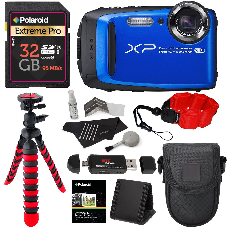 Fujifilm FinePix XP90 Waterproof digital camera (Blue), 32GB Class 10, Memory Card Reader, 12'' Tripod, Camera Case, Polaroid Floating Foam Strap Red, Cleaning Kit & Accessory Bundle by Ritz Camera