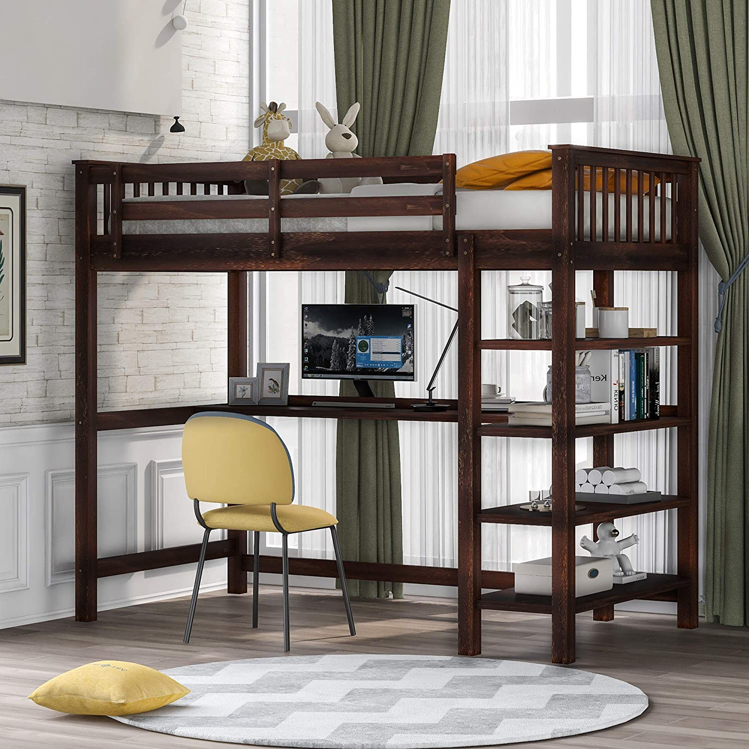 Amazon Com Softsea Wooden High Loft Bed With 4 Tier Shelves And Under Bed Desk For Boys Girls No Box Spring Needed Twin Kitchen Dining