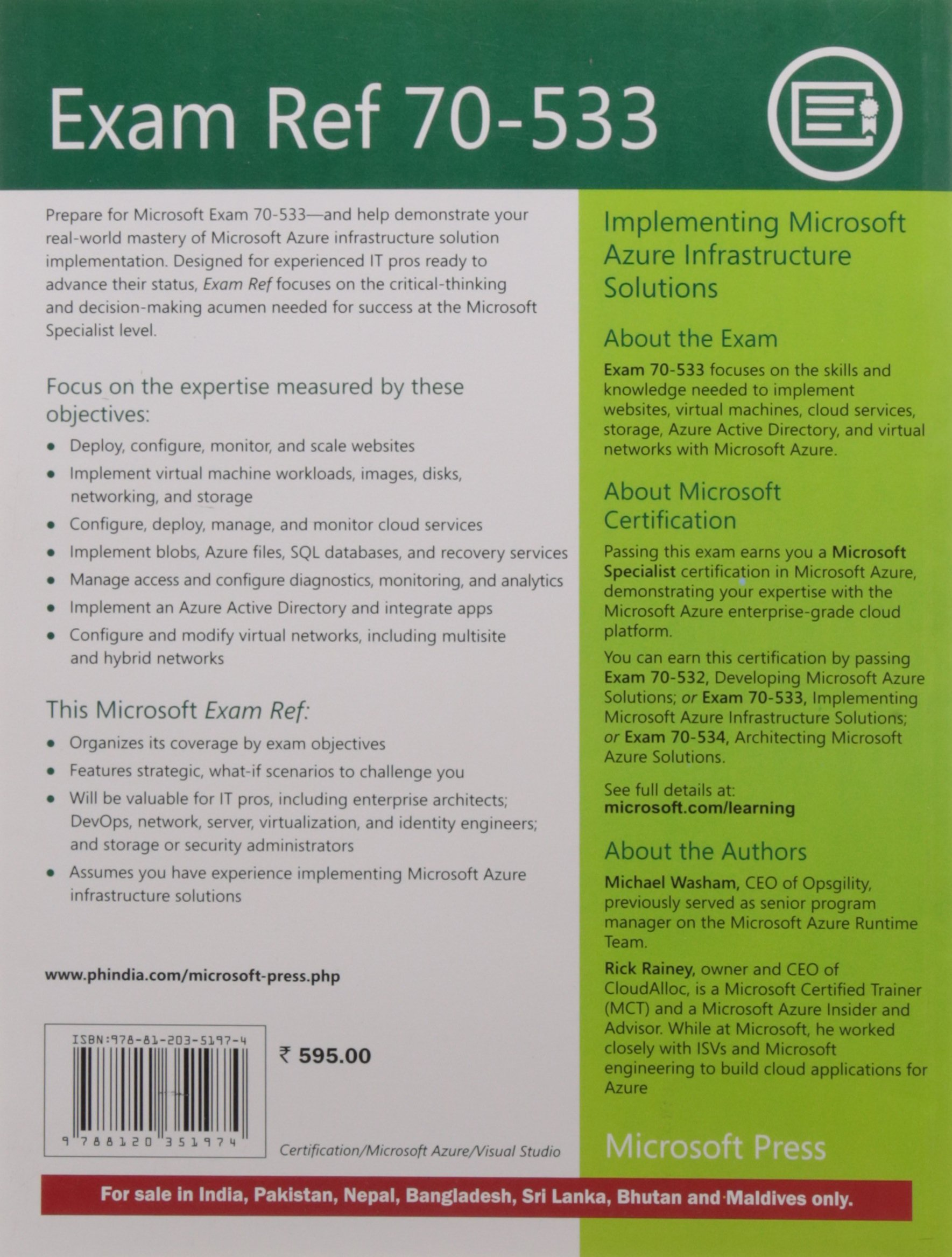 Buy Exam Ref 70 533 Implementing Microsoft Azure Infrastructure