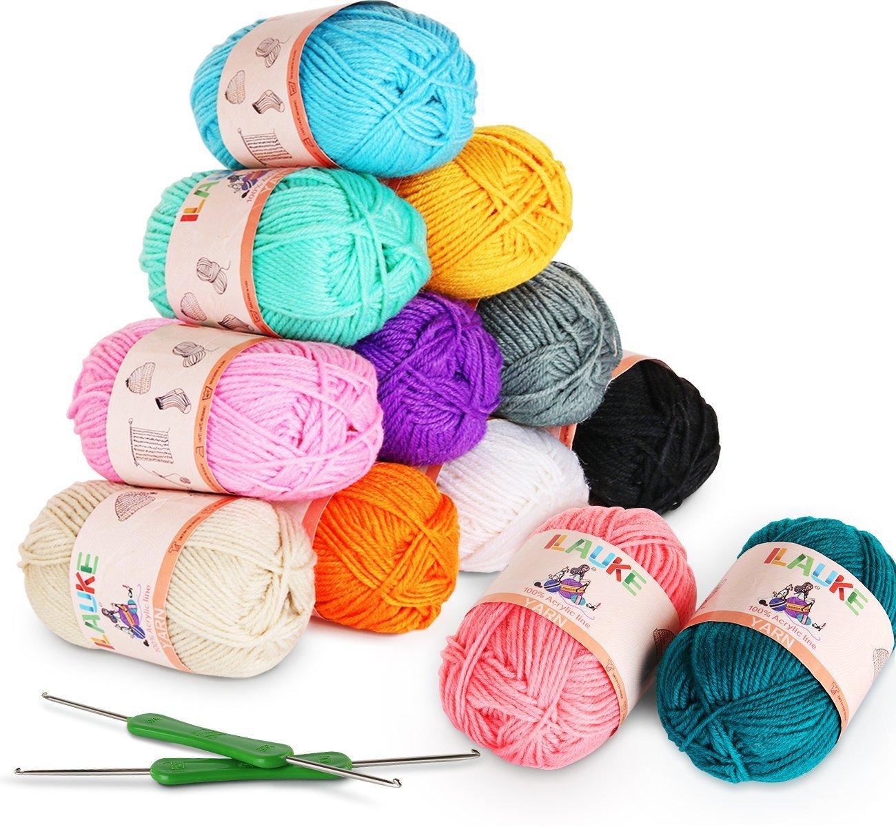 ilauke 12 Acrylic Yarn Skeins Assorted Colors Bonbons 100% Acrylic Soft Yarn for Kids Knitting Crochet & Crafts (50G X 12)