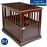 "Pet Crate Kennel and End Table with Lockable Door and Padded Mattress Pad - Elegant Pinewood Furniture - Espresso Finish - 18""W x 26""D x 24""H – by Petlo"