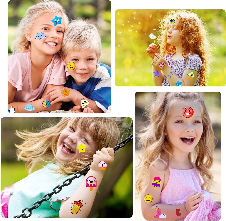 Girls Konsait Kids Tattoos Set Cute Star Emoji Face Temporary Tattoos for Kids Children s Birthday Party Supplies Kids Party Bag Filler Class Reward Costume Decorations Boys