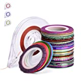 Noverlife 57 Mixed Color 1mm Nail Art Striping Tape Lines, Self-adhesive Matt Glitter Nail Design Stickers, Manicure Shimmer Nail Tips Decal Decoration for DIY Craft Making, 4PCS Tape Roller Dispenser