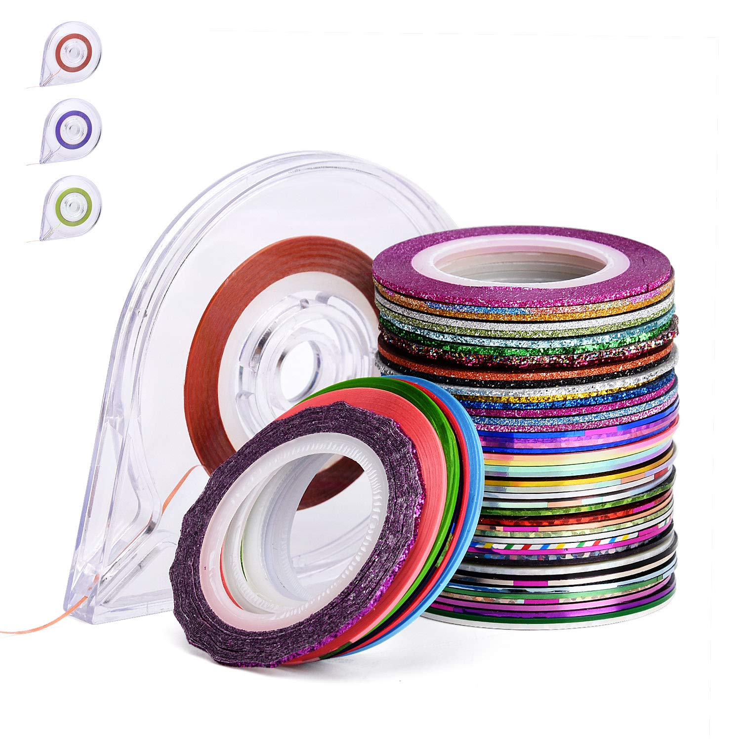 Noverlife 57 Mixed Color 1mm Nail Art Striping Tape Lines, Self-adhesive Matt Glitter Nail Design Stickers, Manicure Shimmer Nail Tips Decal Decoration for DIY Craft Making, 4PCS Tape Roller Dispenser by Noverlife