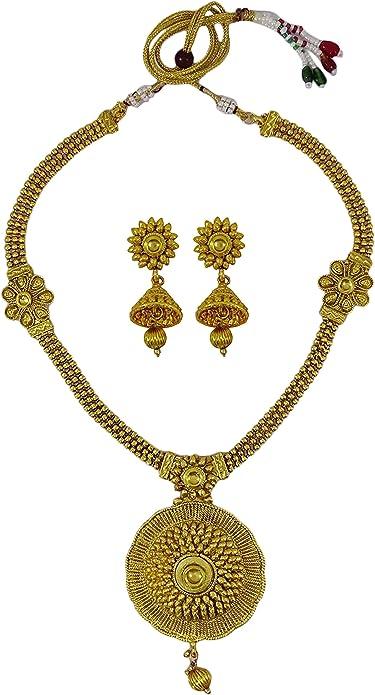 Goldtone Brass Metal Women Fashion Amazing Huge Necklace Pendant Indian Jewelry