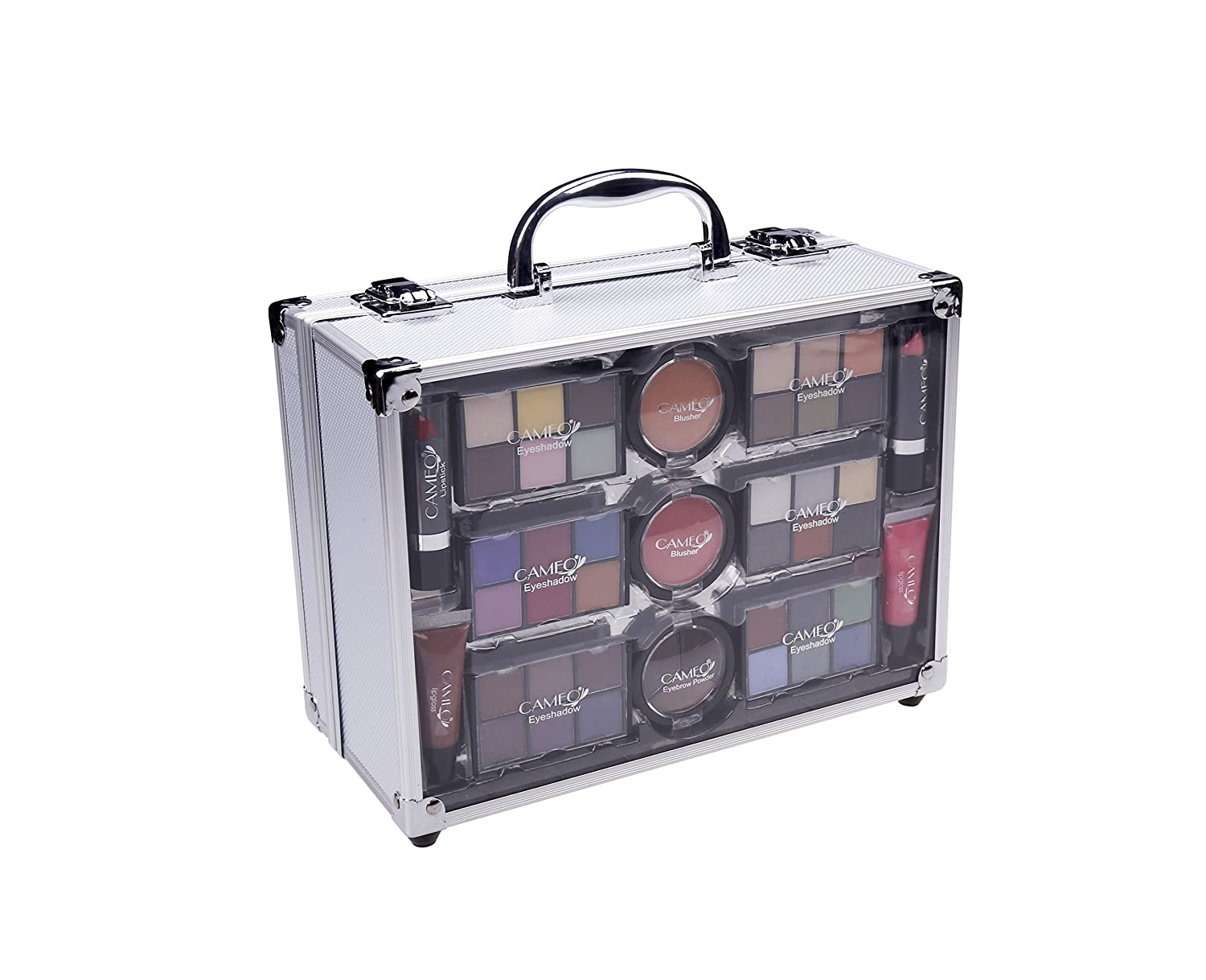Cameo Carry All Trunk Makeup Kit with Reusable Aluminum Case Exclusive Holiday Gift Set, Black White