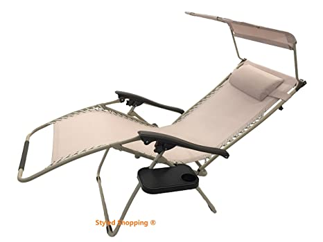Amazon.com : Deluxe Oversized Extra Large Zero Gravity Chair With Canopy +  Tray   Brown : Zero Gravity Chair Wide : Patio, Lawn U0026 Garden