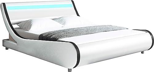 Modern Contemporary Wave-Like Curve Upholstered Platform Bed