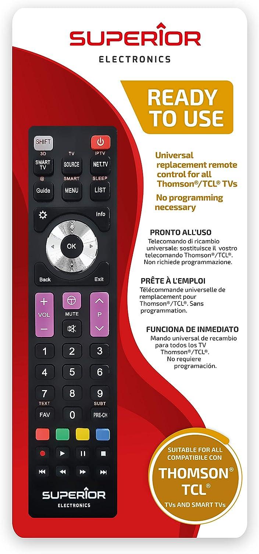 Superior Electronics - Mando universal de recambio para todos los televisores y Smart TV de la marca Thomson/TCL: Amazon.es: Electrónica