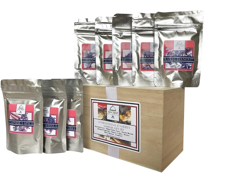Spice Squad ~ International 8 Variety Sampler Gift Set | Thai Red Curry, Ras el Hanout, Indian Yellow Curry, Za'atar, Shichimi Togarashi, Chinese 5 Spice & Garam Masala