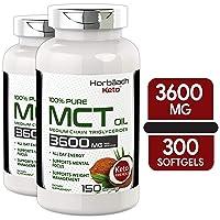 Keto MCT Oil Capsules | 3600 mg 300 Softgels | Coconut Oil Pills | Twin Pack | Non-GMO...