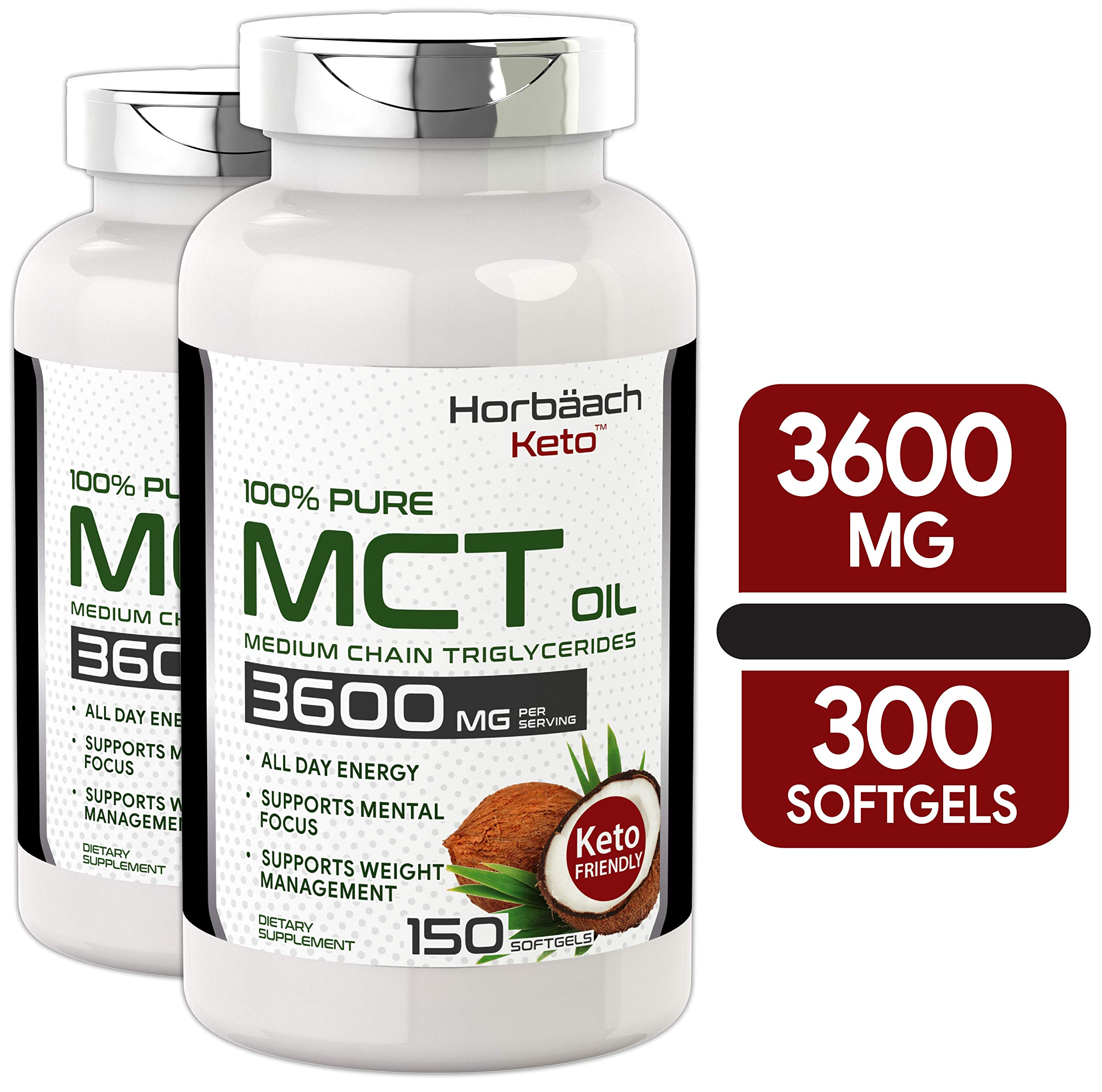 Keto MCT Oil Capsules   3600 mg 300 Softgels   Coconut Oil Pills   Twin Pack   Non-GMO, Gluten Free   by Horbaach