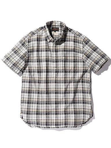 Madras Short-Sleeve Popover Buttondown Shirt 11-01-1074-139: Grey