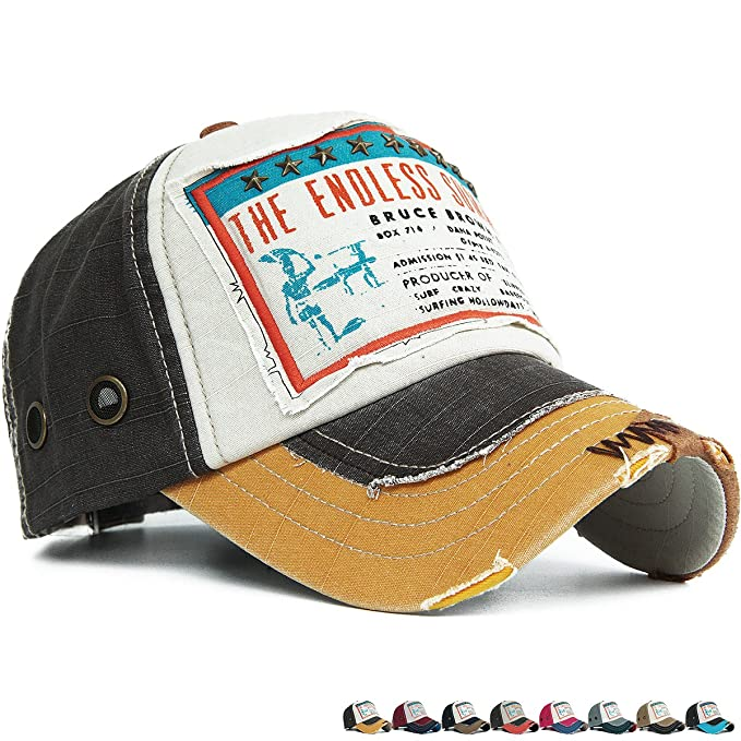 7ee4ff3252ab5 Rayna Fashion Distressed Curved Brim Trucker Hat Baseball Cap Printed  Embroidered Patch Yellow