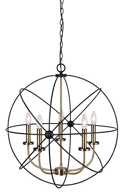 Canarm summerside 5 light chain chandelier black with gold finish canarm summerside 5 light chain chandelier black with gold finish aloadofball Image collections