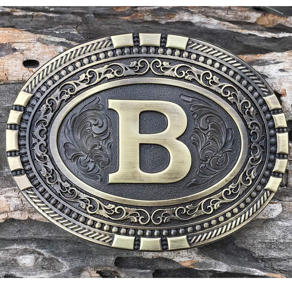 Exos Oval Western Brass Cast Filigree Rope Border Initial Belt Buckle