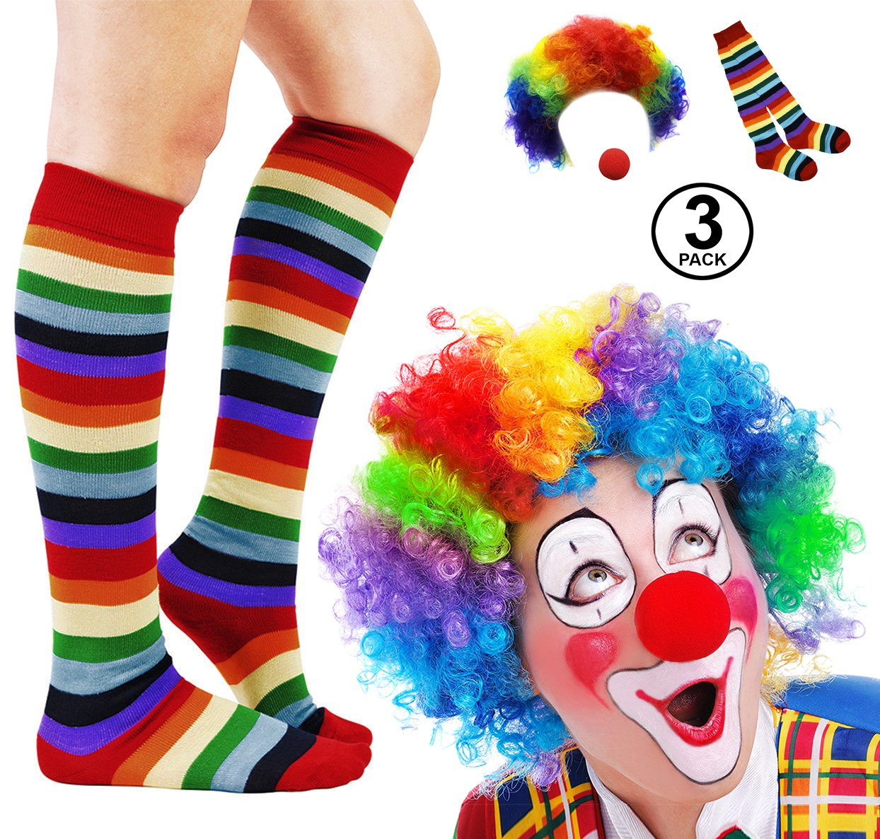 Funny Party Hats Clown Costume - 3 Pc Set - Clown Wig, Clown Nose, Clown Socks - Clown Costume Accessories f-am226-am253-fn-64402