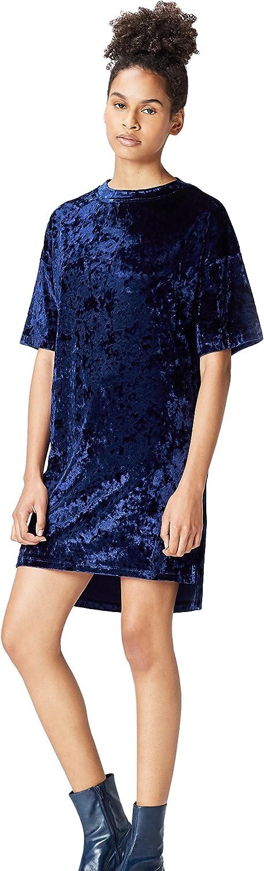 TALLA 38 (Talla del Fabricante: Small). Marca Amazon - find. Vestido Estilo Camiseta de Terciopelo Mujer Azul (Navy) 38 (Talla del fabricante: Small)