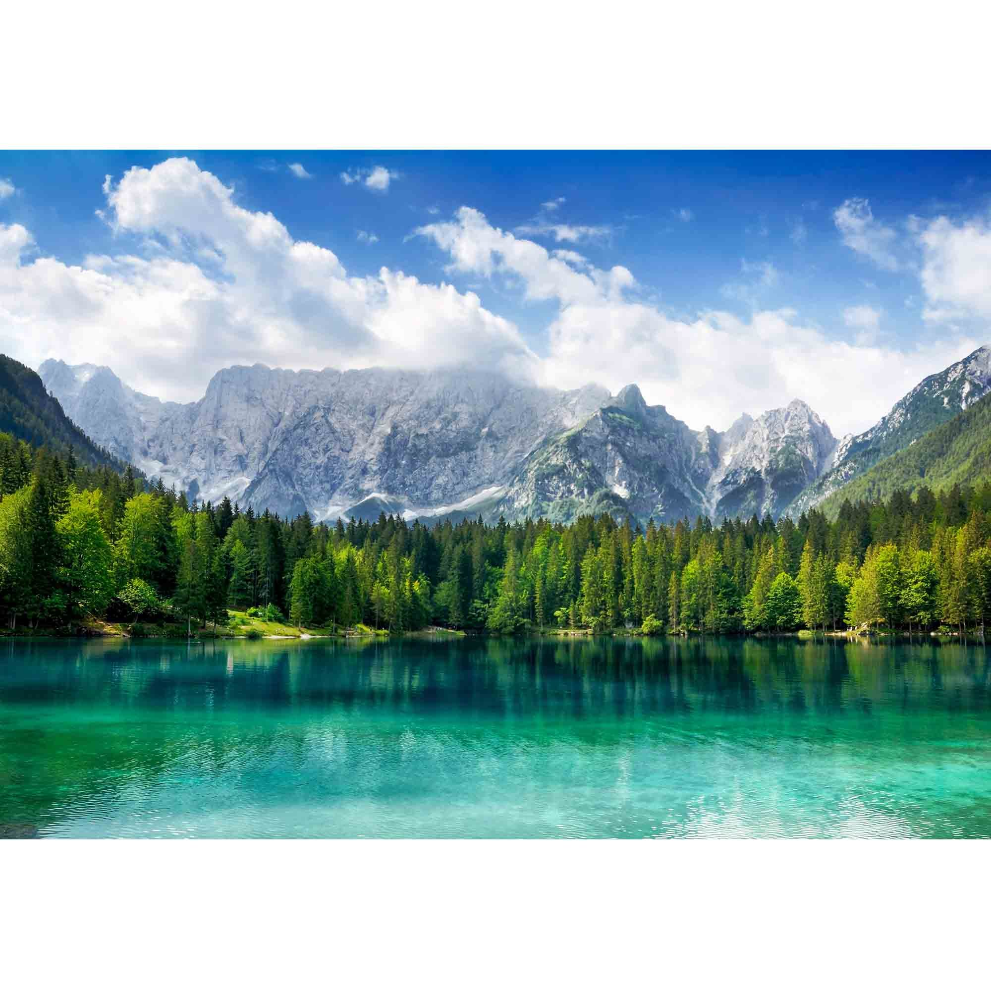 wall26 - Beautiful Landscape with Turquoise Lake, Forest and Mountains - Removable Wall Mural | Self-Adhesive Large Wallpaper - 100x144 inches by wall26 (Image #2)