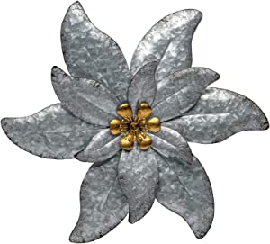 SONGXIN Silver with Gold Accents Metal Wall Art Decor Thanksgiving Christmas Multiple Layer Flower for Indoor Outdoor Home Bedroom Garden 13.58 Inch