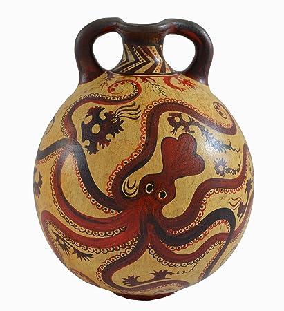 Amazon Minoan Art Pottery Amphora Vase Octopus Design