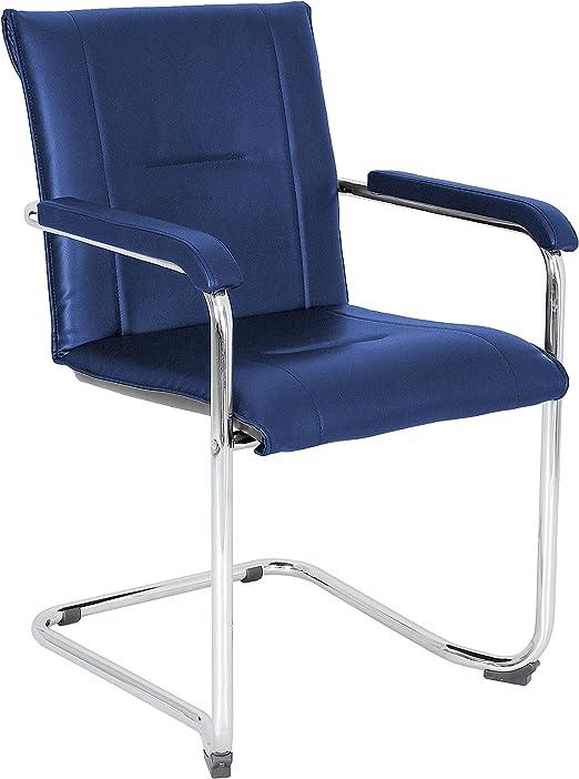 Nowy-Styl Rumba Besucherstuhl 2 Stück, Kunstleder blau, Freischwinger, mit Armlehnen