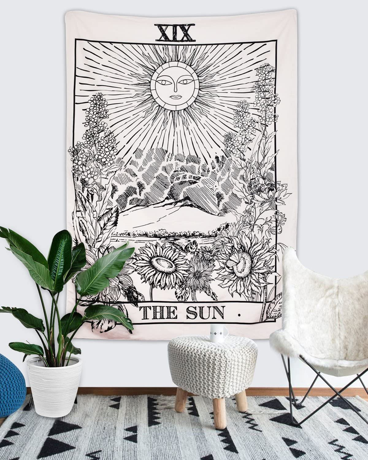 Romantic Tarot Tapestry The Moon The Star The Sun Tapestry Medieval Europe Divination Tapestry Wall Hanging Tapestries Mysterious Wall Tapestry for Home Decor 51/×59, The Sun