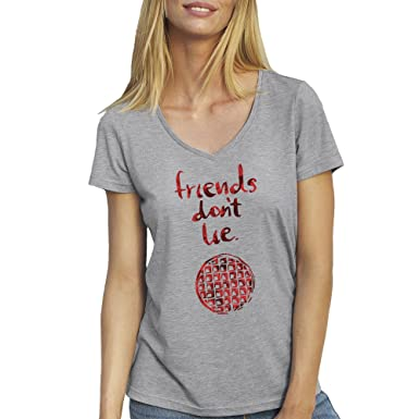 Friends Dont Lie by Stranger Things Grey T-Shirt V Neck for Ladies