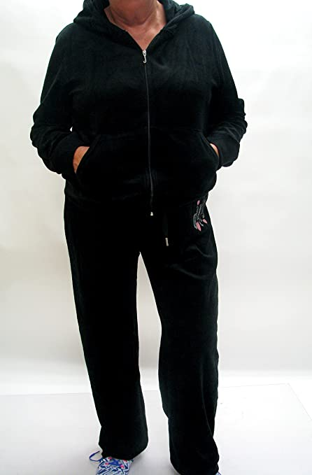 9c72ea5d01ef Amazon.com  Juicy Couture Adult Tracksuit 2X Velour Sweat Suit Jacket  (Hoodie) and Pants Full Set in Black  Sports   Outdoors