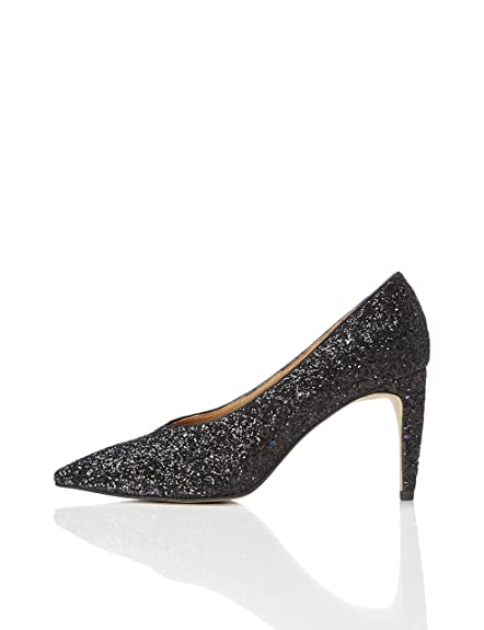 Find Zapatos de Tacón con Empeine Alto para Mujer, Plateado (Silver), 41 EU