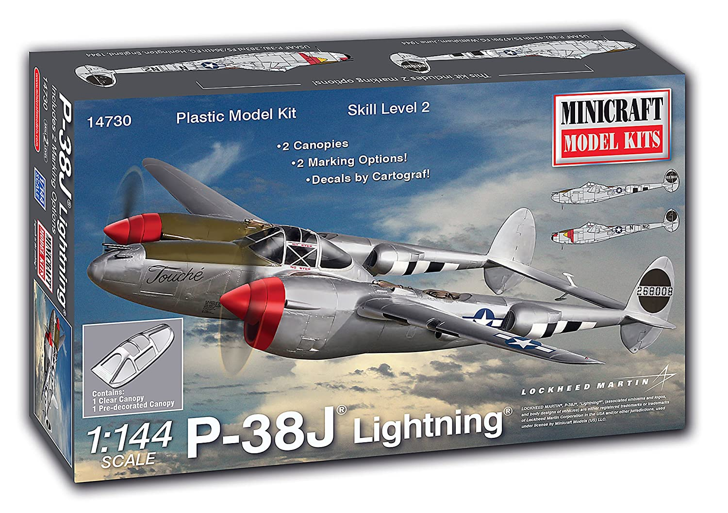 Minicraft P-38J Lightning Building Kit 36 Piece Minicraft Models 14730