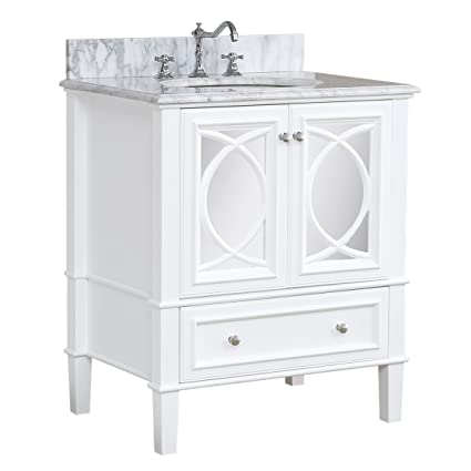 Great Olivia 30 Inch Bathroom Vanity (Carrara/White): Includes Italian Carrara  Countertop