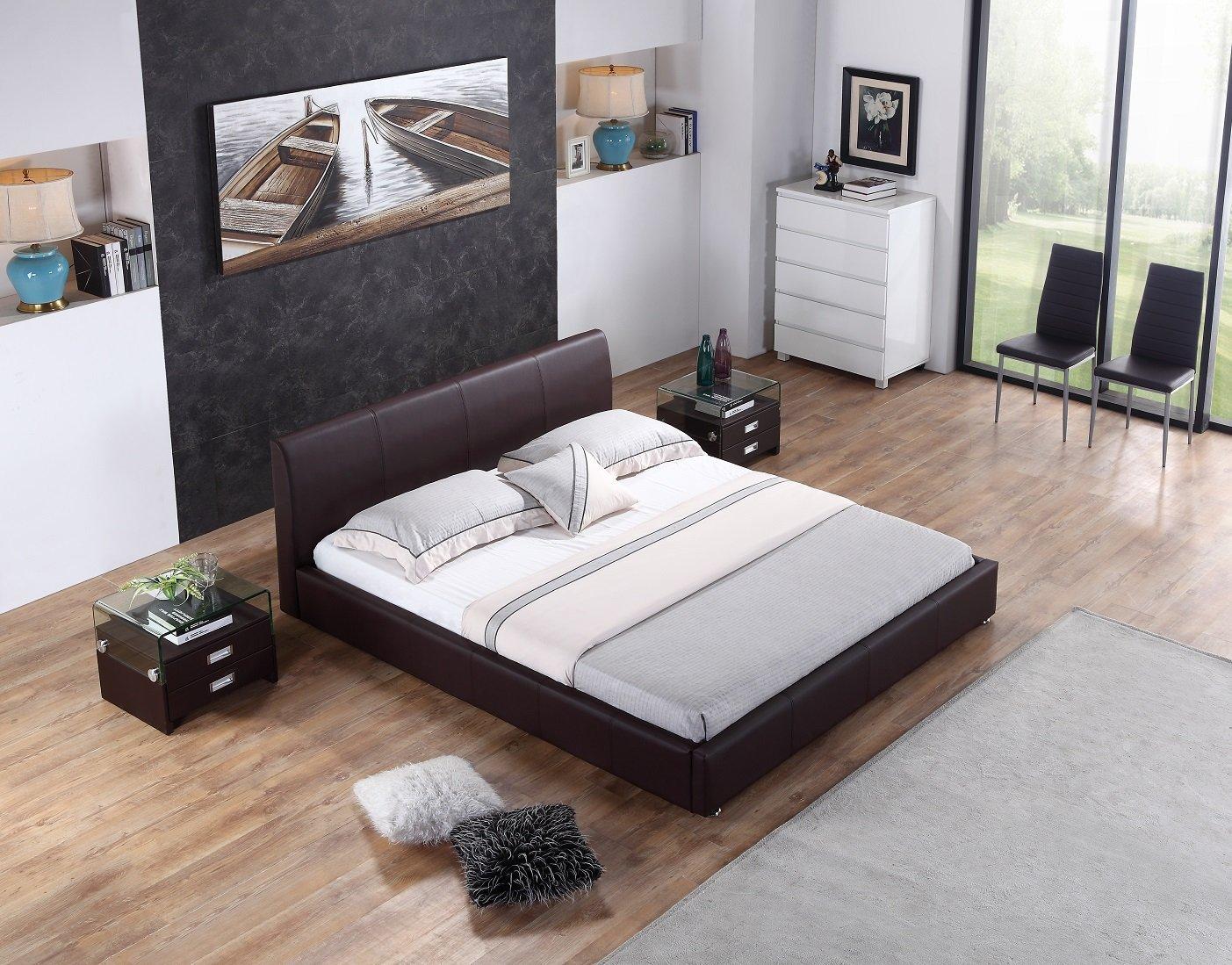 i-flair® - Designer Polsterbett, Bett Monaco 140cm x 200cm braun ...