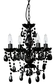 Leila black clear swag plug in chandelier amazon the original gypsy color 4 light small black chandelier h18 w15 black metal aloadofball Image collections