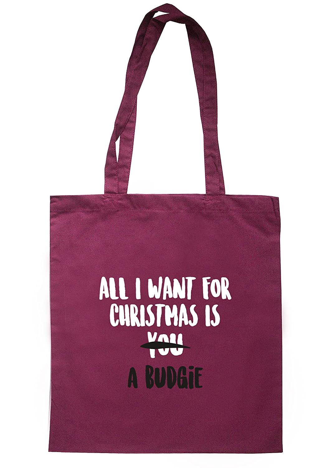 illustratedidentity All I Want For Christmas Is A Budgie Tote Bag 37.5cm x 42cm with long handles TB1052-TB-NV